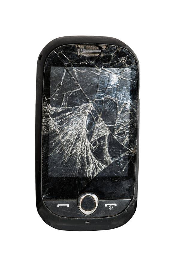 Łamany telefonu komórkowego zakończenie up odizolowywający na białym tle obraz stock