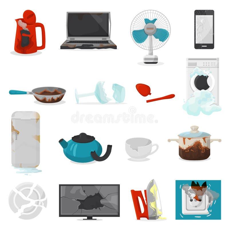 Łamany urządzenie wektor uszkadzał homeappliances lub burnt elektryczny gospodarstwa domowego wyposażenia ilustracyjnego ustawia  ilustracji