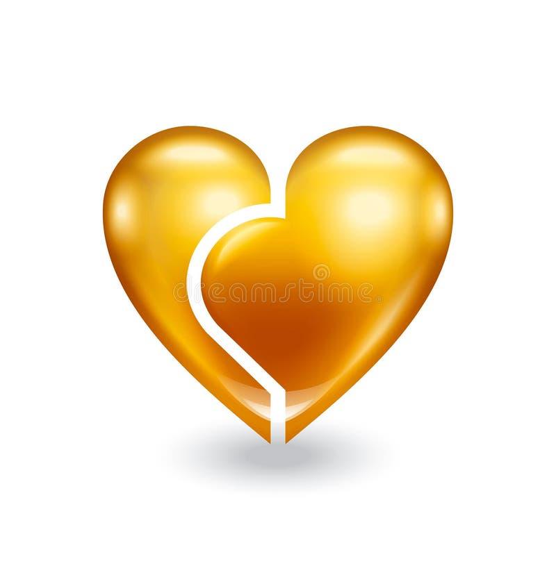 łamany złocisty serce royalty ilustracja