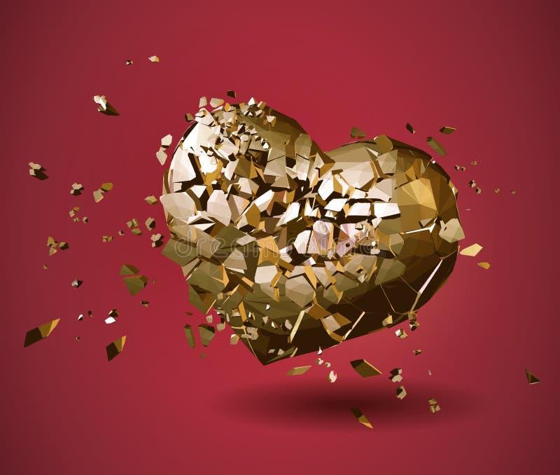 Łamany złoty poligonalny serce na czerwieni BG ilustracji