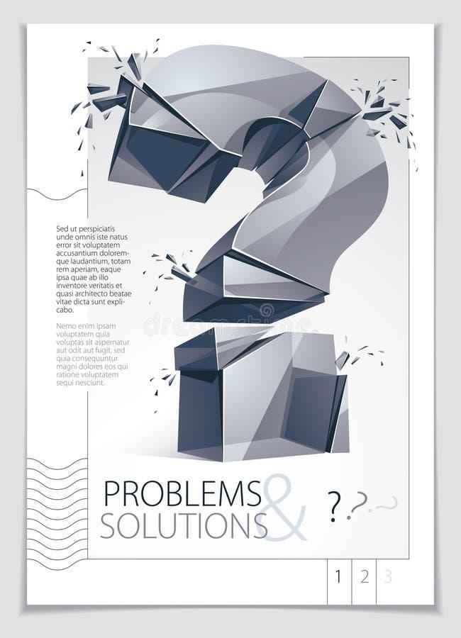 Łamany znak zapytania wybucha broszurki lub ulotki projekt, zapytanie b ilustracji