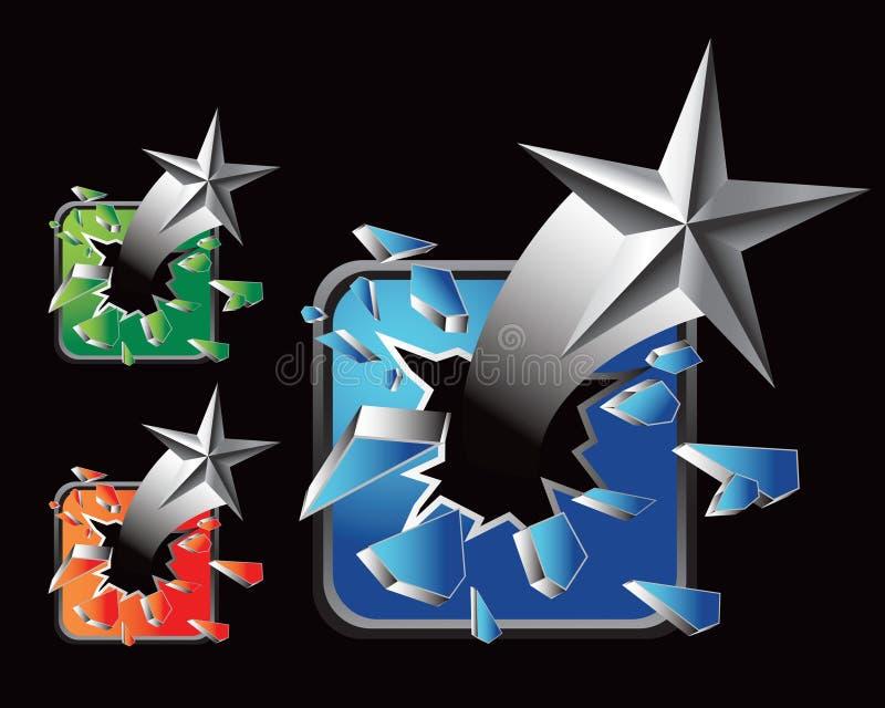 łamanych szklanych ikon stubarwna srebra gwiazdy sieć ilustracji
