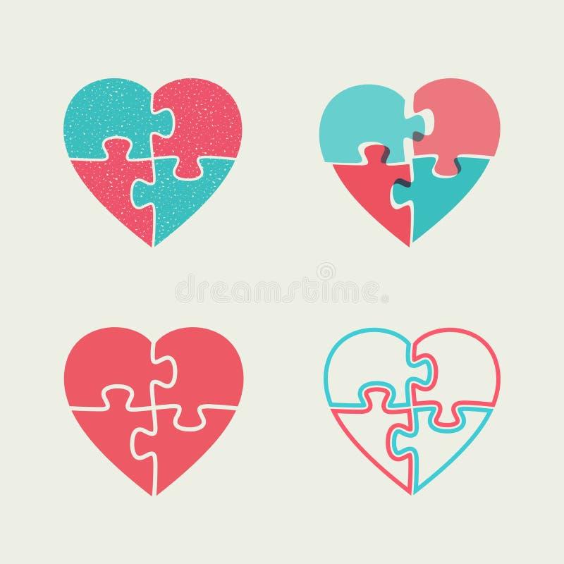 Łamigłówek serca ilustracja wektor