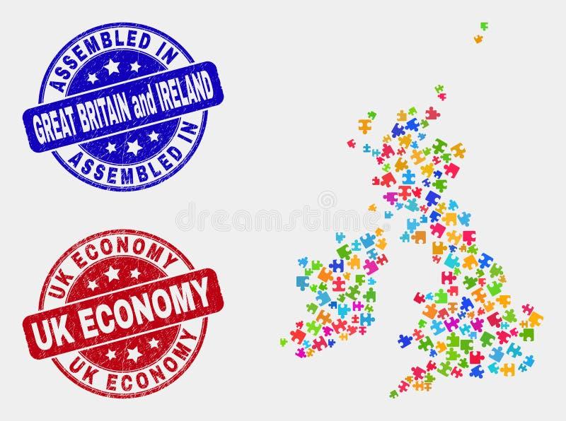 Łamigłówka Brytania i Irlandia Wielka mapa i Grunge gospodarka znaczka foki Gromadzić i UK ilustracji