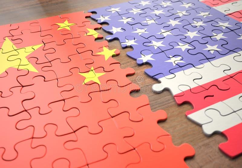 Łamigłówka Chiny I Stany Zjednoczone fotografia royalty free