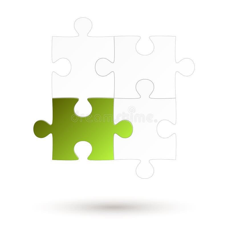 Łamigłówka - cztery części - Zielona opcja ilustracji