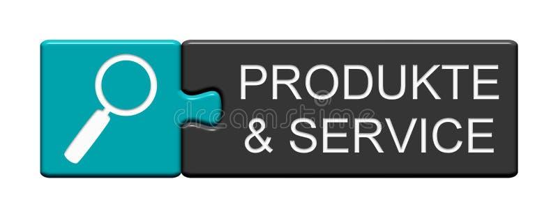 Łamigłówka guzik: Produkty i usługa niemieccy ilustracji