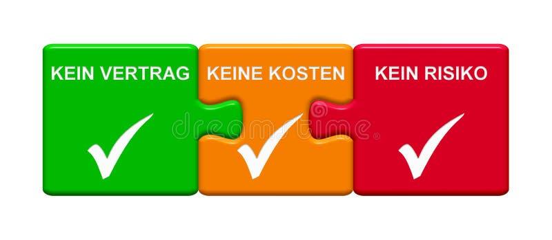 3 łamigłówka guzika pokazuje Żadny kontraktowi Żadny ryzyko Żadny koszt niemiec ilustracja wektor