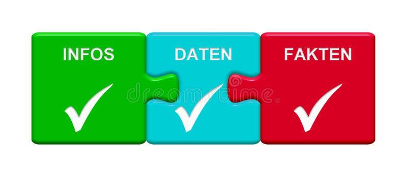 3 łamigłówka guzika pokazuje Infos dane fact niemiec ilustracja wektor