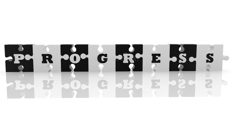 Łamigłówka kawałki z postępu pojęciem w czarny i biały royalty ilustracja