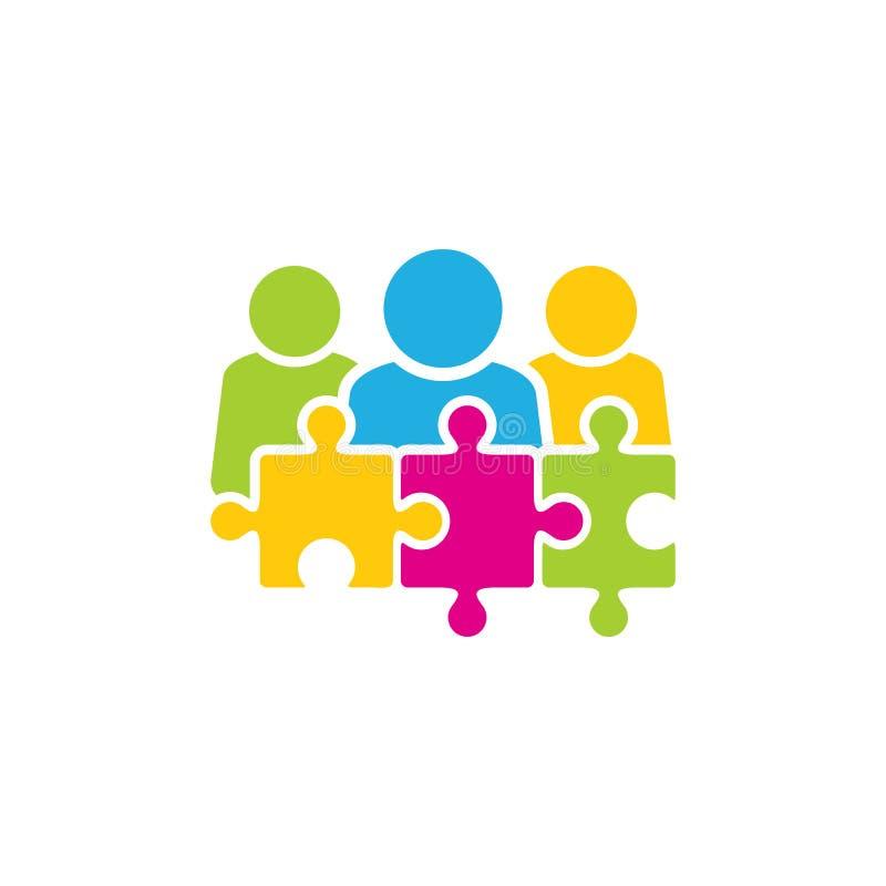 Łamigłówka loga ikony Grupowy projekt ilustracja wektor