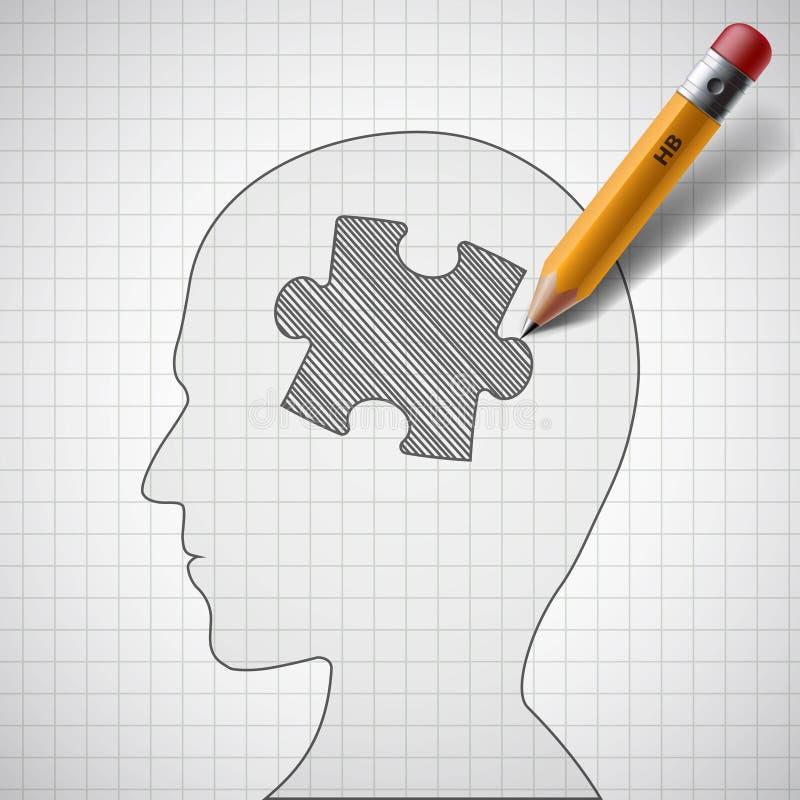 Łamigłówka w ludzkiej głowie ilustracja wektor