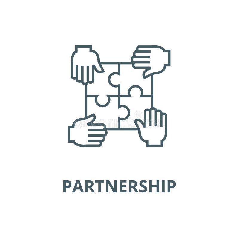 Łamigłówka z cztery rękami, partnerstwo wektoru linii ikona, liniowy pojęcie, konturu znak, symbol ilustracji