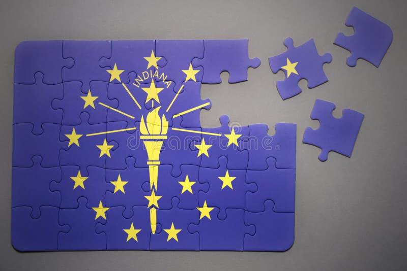 Łamigłówka z flaga Indiana stan fotografia stock