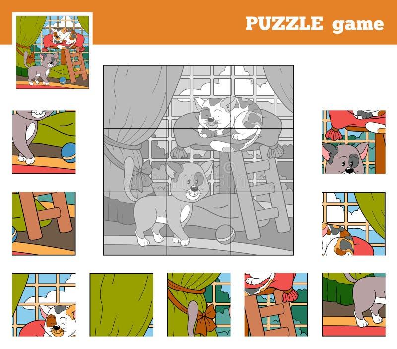 Łamigłówki gra dla dzieci z zwierzętami (koty) royalty ilustracja