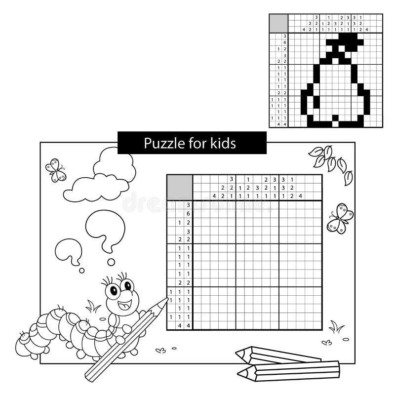Łamigłówki gra dla dziecko w wieku szkolnym Bonkreta Czarny i biały japoński crossword z odpowiedzią Kolorystyki książka dla dzie ilustracja wektor