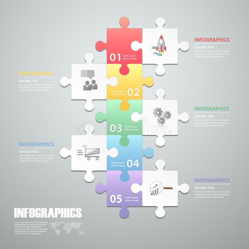 Łamigłówki 5 kroków infographic szablon może używać dla obieg układu, diagram ilustracja wektor