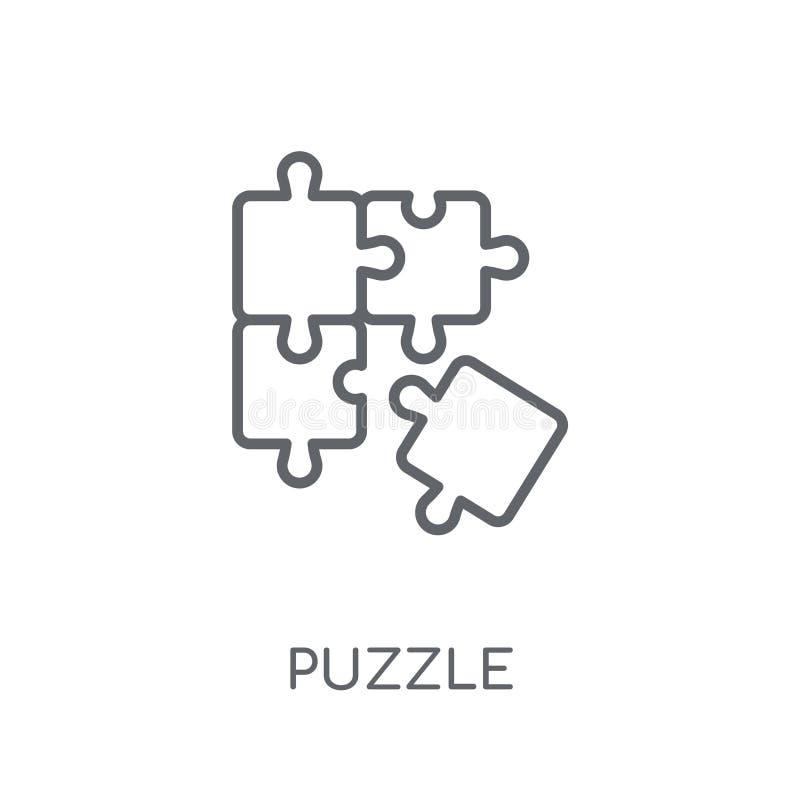 Łamigłówki liniowa ikona Nowożytny kontur łamigłówki logo pojęcie na bielu ilustracji