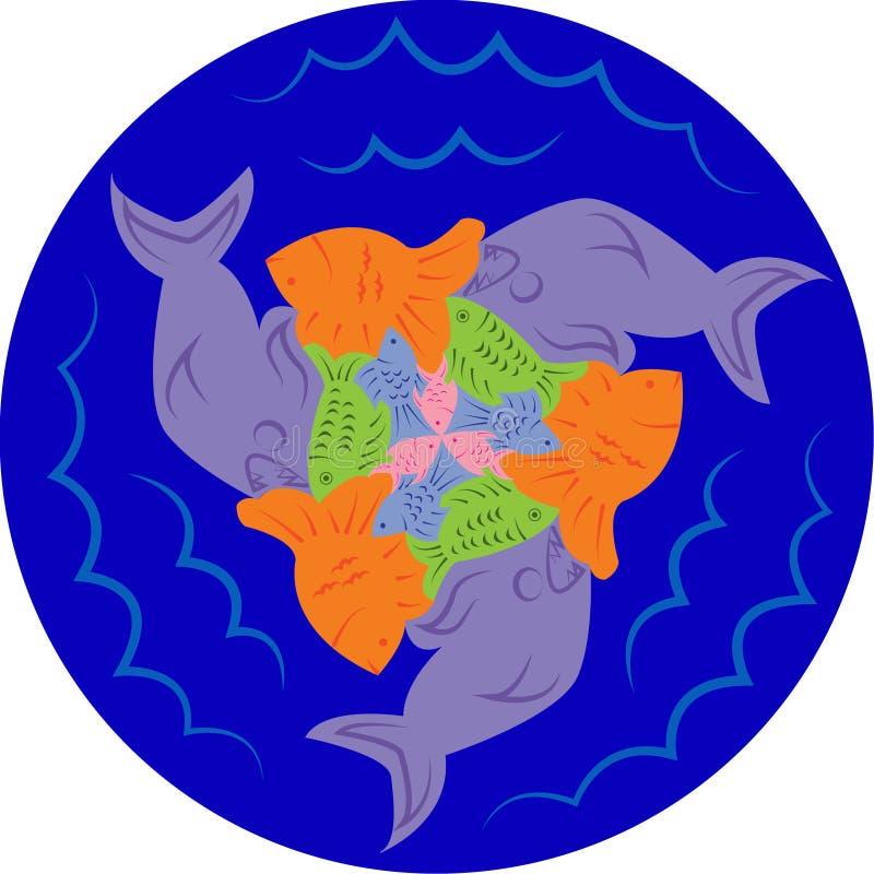 Łamigłówki ryba Escher styl ilustracja wektor