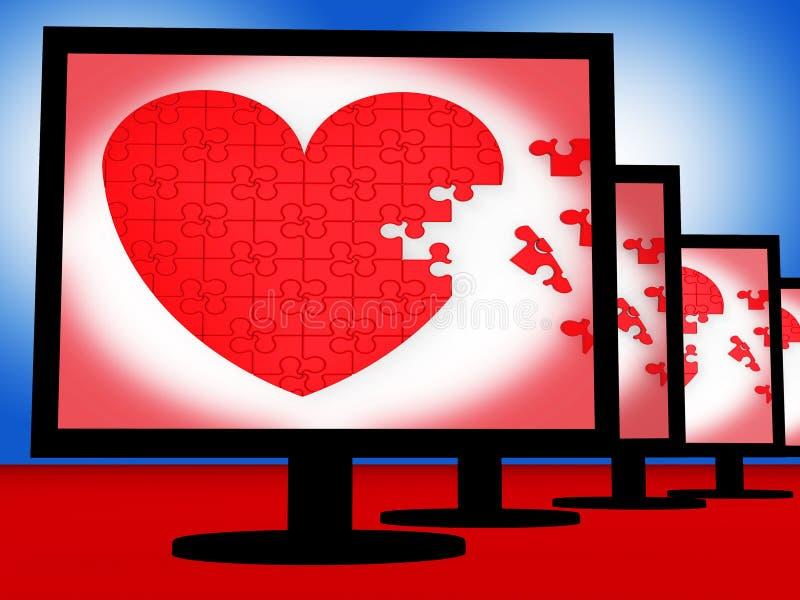 Łamigłówki serce Na monitorów przedstawień miłości ilustracji