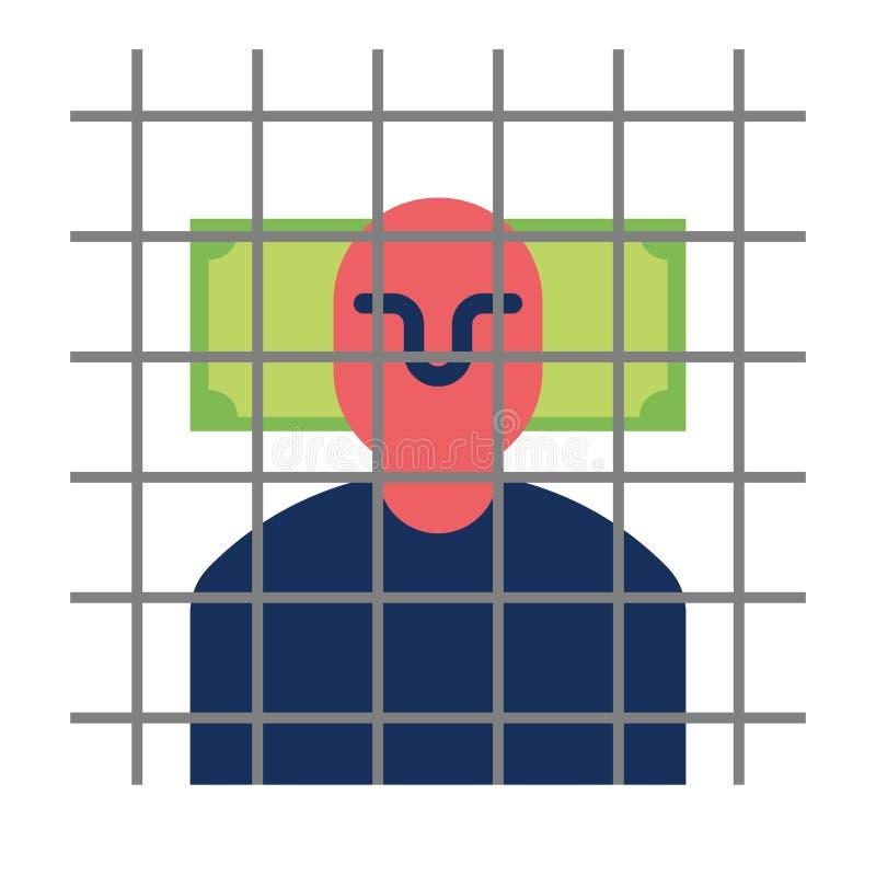 Łapówka zabieracz w więzieniu Mężczyzna w więzienie pieniądze i barach royalty ilustracja