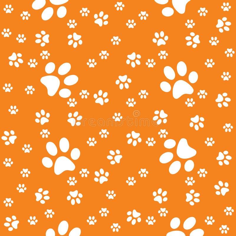 Łapa bezszwowy zmrok - pomarańczowy tło, łapa wzór ilustracja wektor