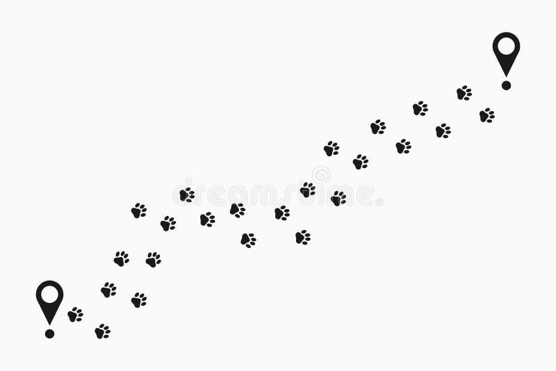 Łapa druku ścieżka Zwierzęcy pawprint ślad tropi z lokaci szpilką Łapa kroków trasa wektor ilustracji