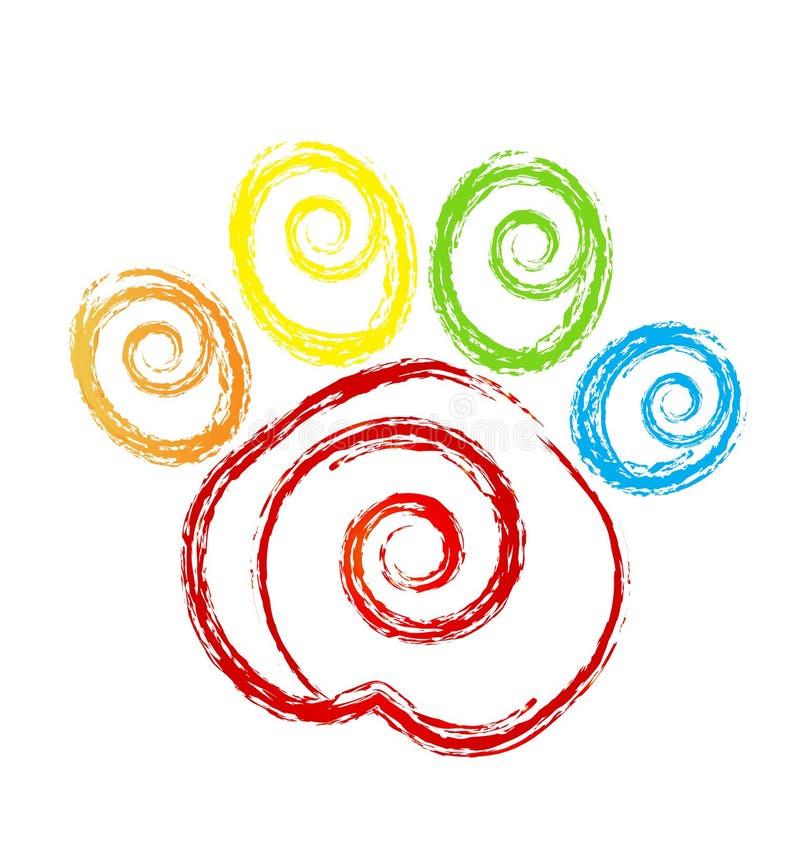 Łapa druku zwierzę domowe z swirly kierowym logem royalty ilustracja