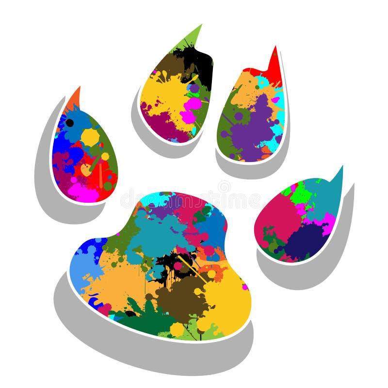 Łapa drukuje kolorowego ilustracji