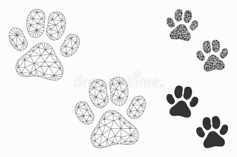Łapa odcisków stopych siatki ścierwa trójboka i modela mozaiki Wektorowa ikona royalty ilustracja