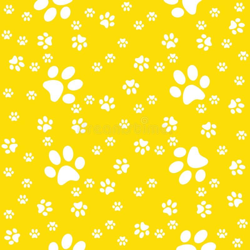 Łapy bezszwowy żółty tło, łapa wzór, druk royalty ilustracja