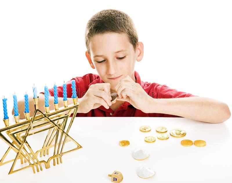 łasowania gelt Hanukkah zdjęcie royalty free