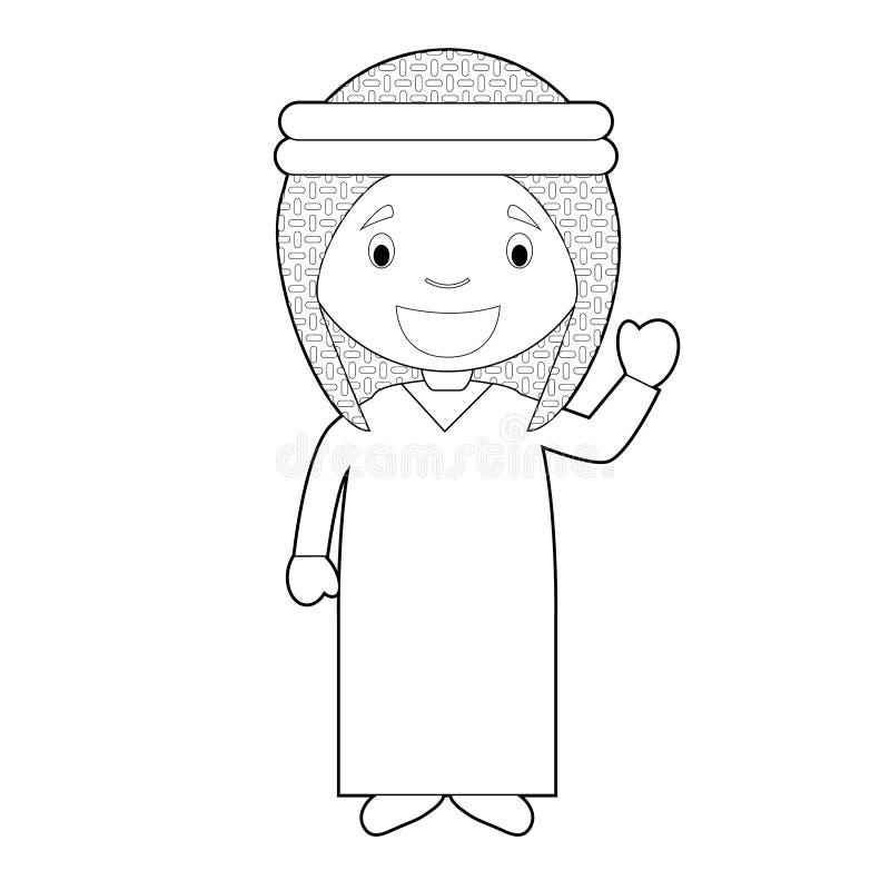 Łatwa kolorystyki postać z kreskówki od Jordania ubierał w tradycyjnej sposobu wektoru ilustracji ilustracji