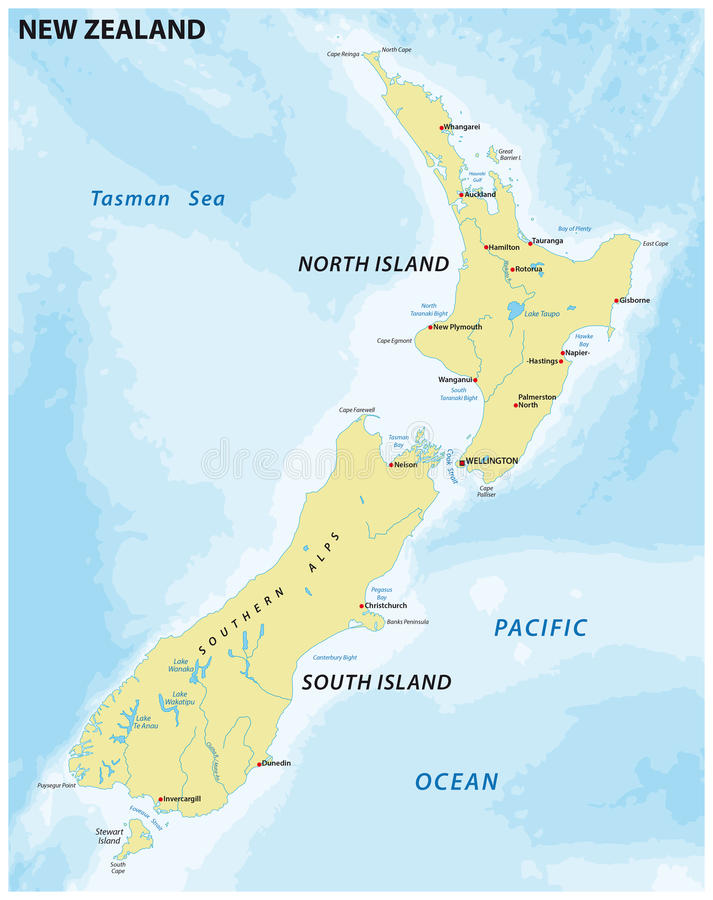 Łatwa mapa Nowa Zelandia royalty ilustracja
