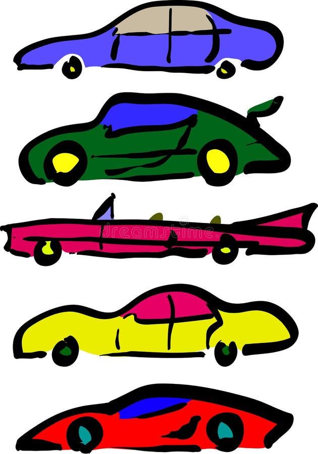 łatwa samochód kreskówka zamienia majcherów koła ilustracja wektor
