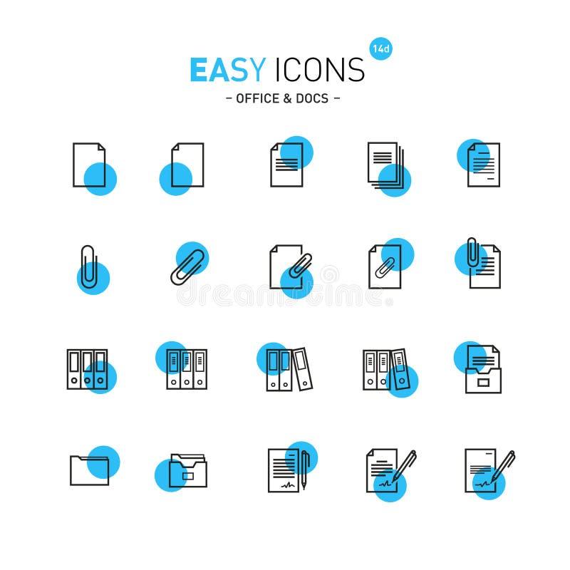Łatwe ikony 13b Docs ilustracja wektor