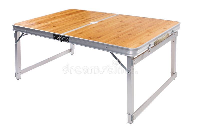 Łatwy falcowanie stół dla obozować dla łowić lub, na białym tle zdjęcie royalty free