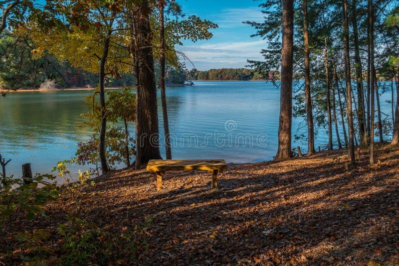 Ławka do siedzenia nad jeziorem zdjęcia royalty free