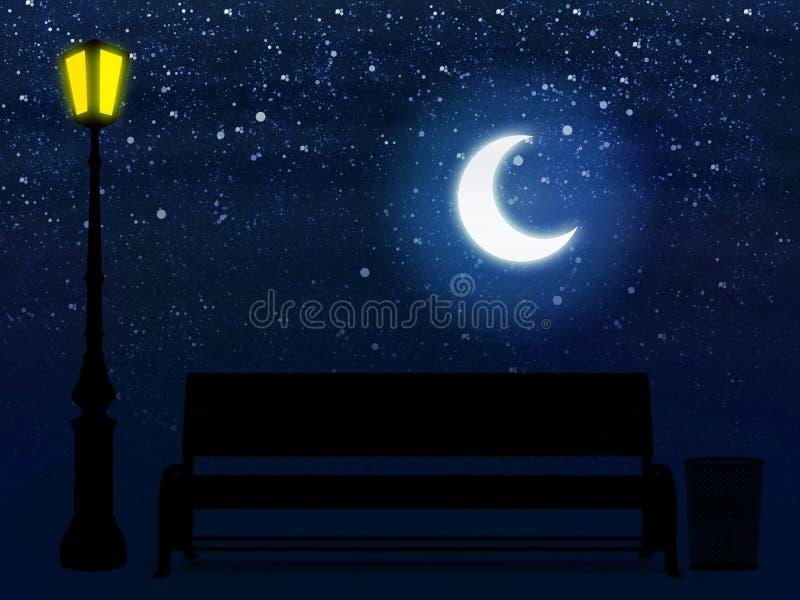 Ławka i latarnia uliczna przy nocą ilustracji
