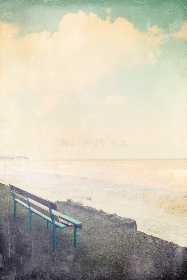 Ławka na morzu zdjęcie royalty free