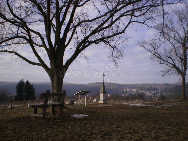 Ławka na wzgórzu zdjęcia royalty free