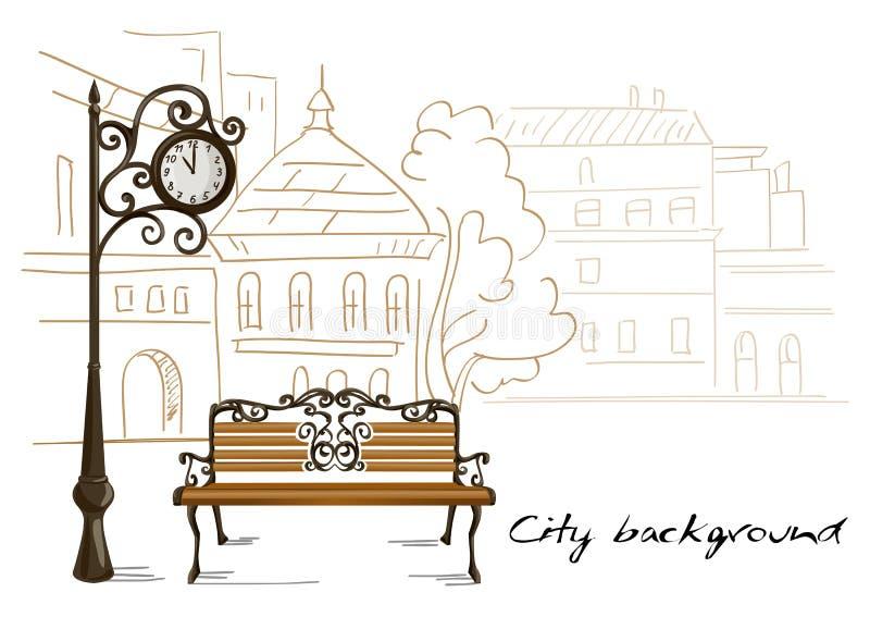Ławka, uliczni zegary, tło kreskowego rysunku miasto royalty ilustracja