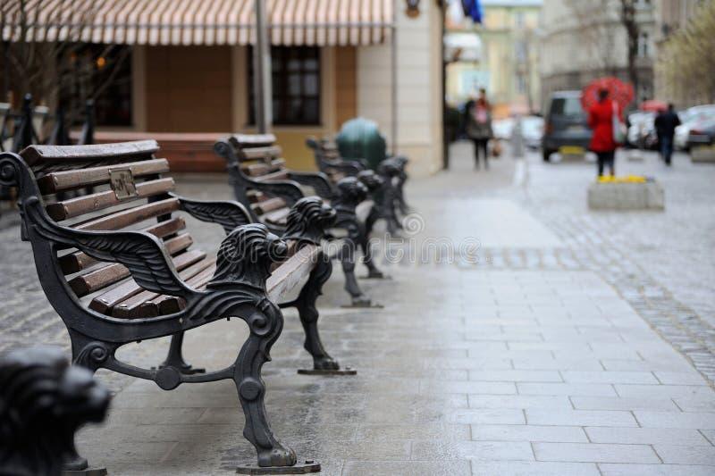 Ławka w centrum Lviv obraz royalty free