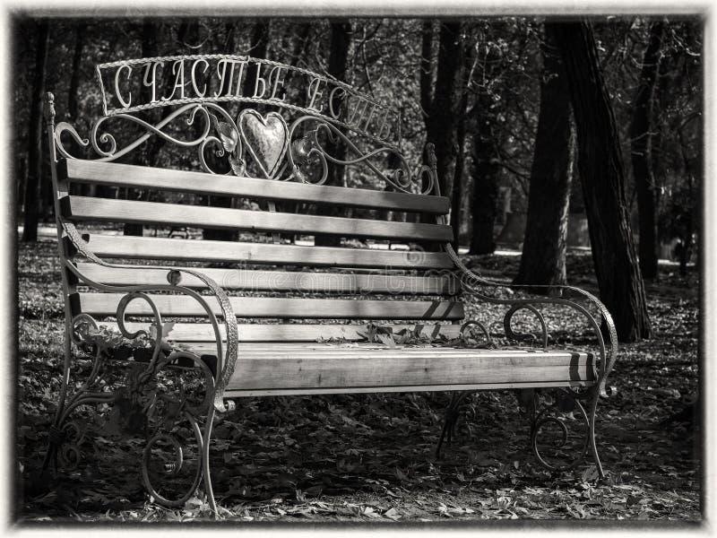 Ławka w jesień parku z spadać liśćmi w czarny i biały obrazy stock