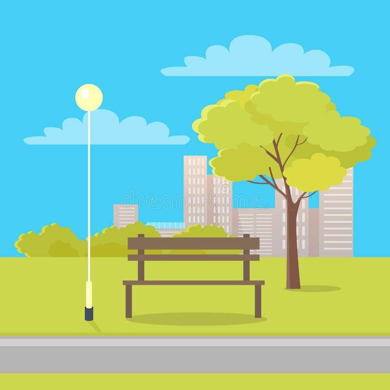 Ławka w miasto parka Płaskiej Wektorowej ilustraci ilustracji