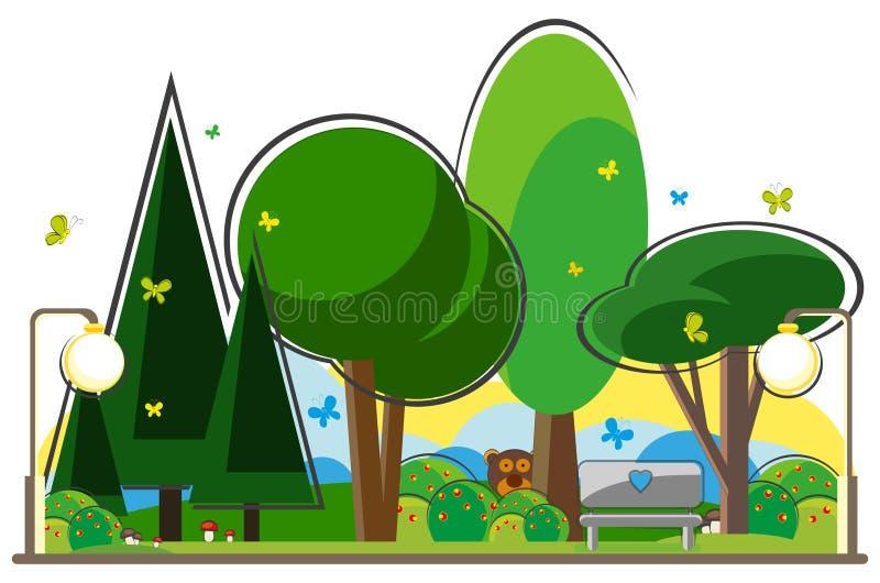 Ławka w parku ilustracji