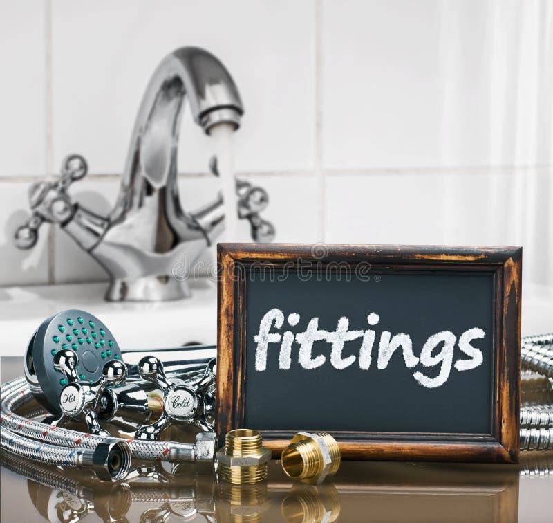 Łazienek dopasowania i elementy wyposażenia są różna budowa fotografia stock