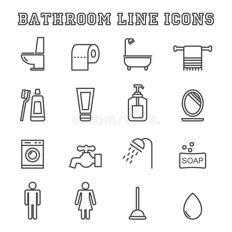 Łazienek kreskowe ikony royalty ilustracja