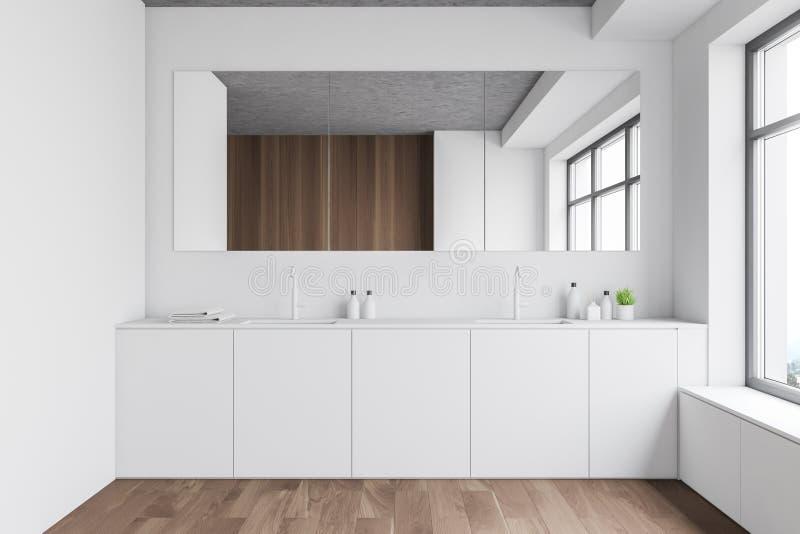 Łazienka biała i drewniana z zlewem podwójnym ilustracja wektor