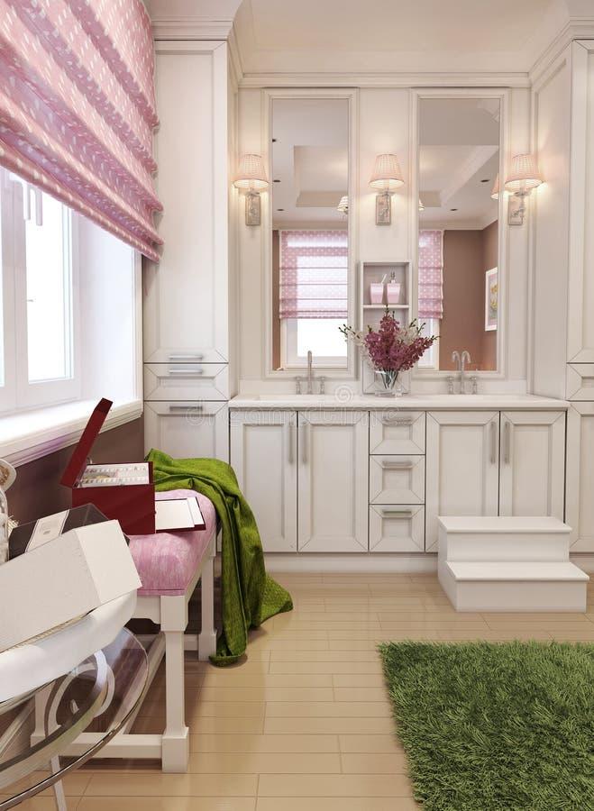 Łazienka dla dziewczyn w klasyka stylu obrazy stock